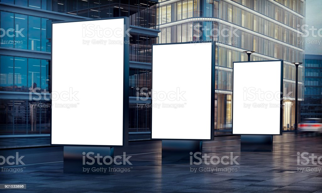 three billboard advertising stock photo