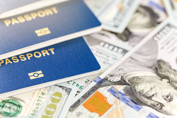 three biometrical international passports over money background. blue travel documents lying on us one hundred dollar banknotes. family tourism and travelling abroad concept - holiday and invoice family foto e immagini stock