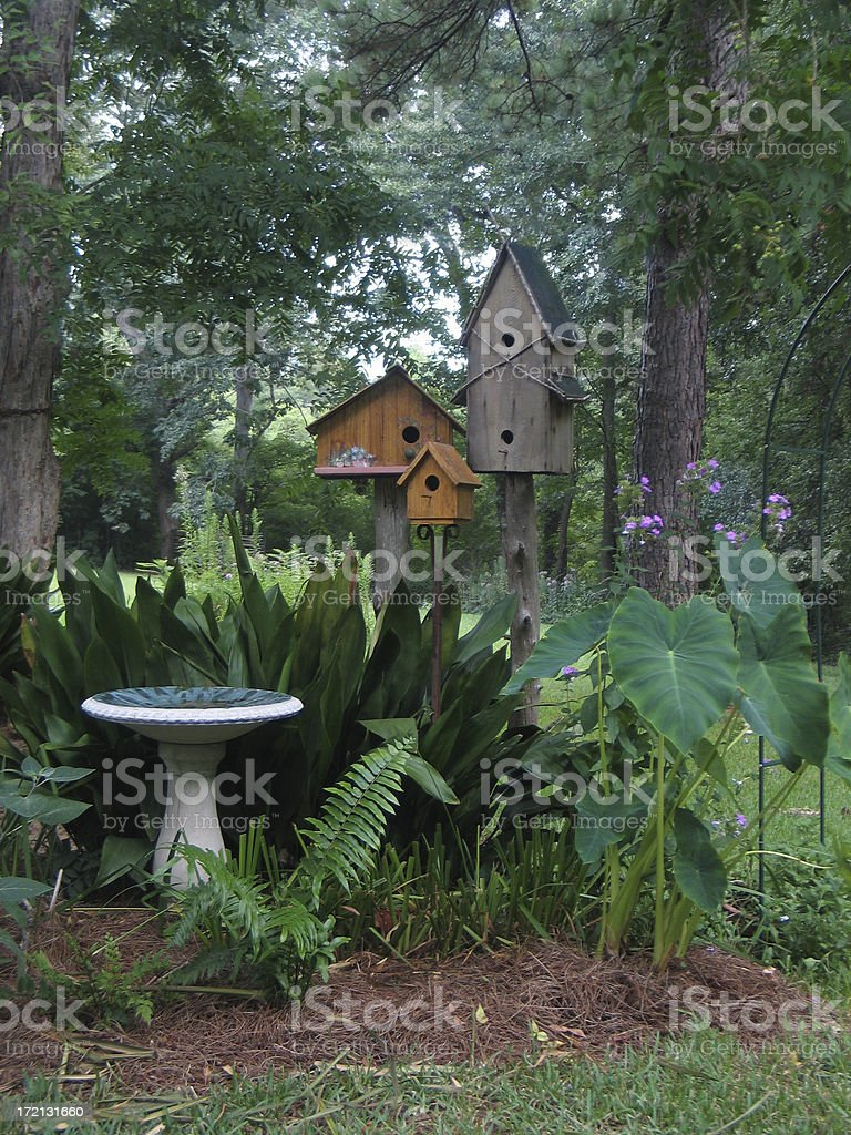 Three Birdhouses royalty-free stock photo
