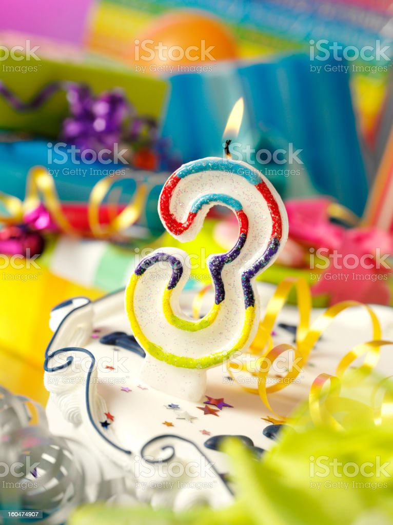 Three Birthday Candle royalty-free stock photo