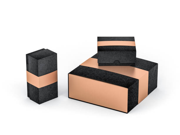 three black boxes with golden label in white studio - sport set competition round stock photos and pictures