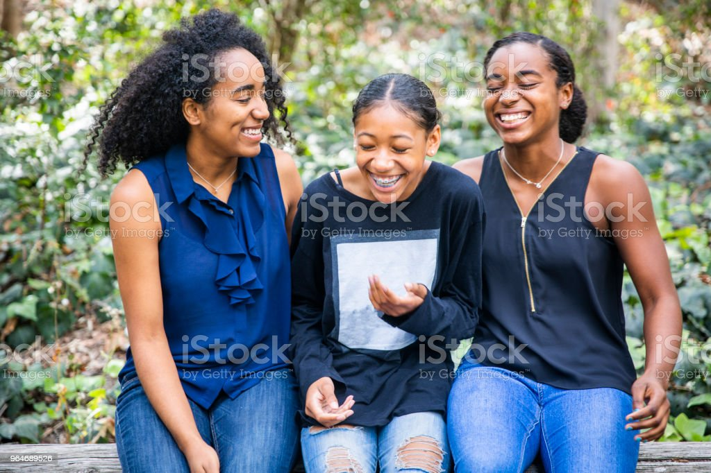 Three Black Girls Smiling royalty-free stock photo