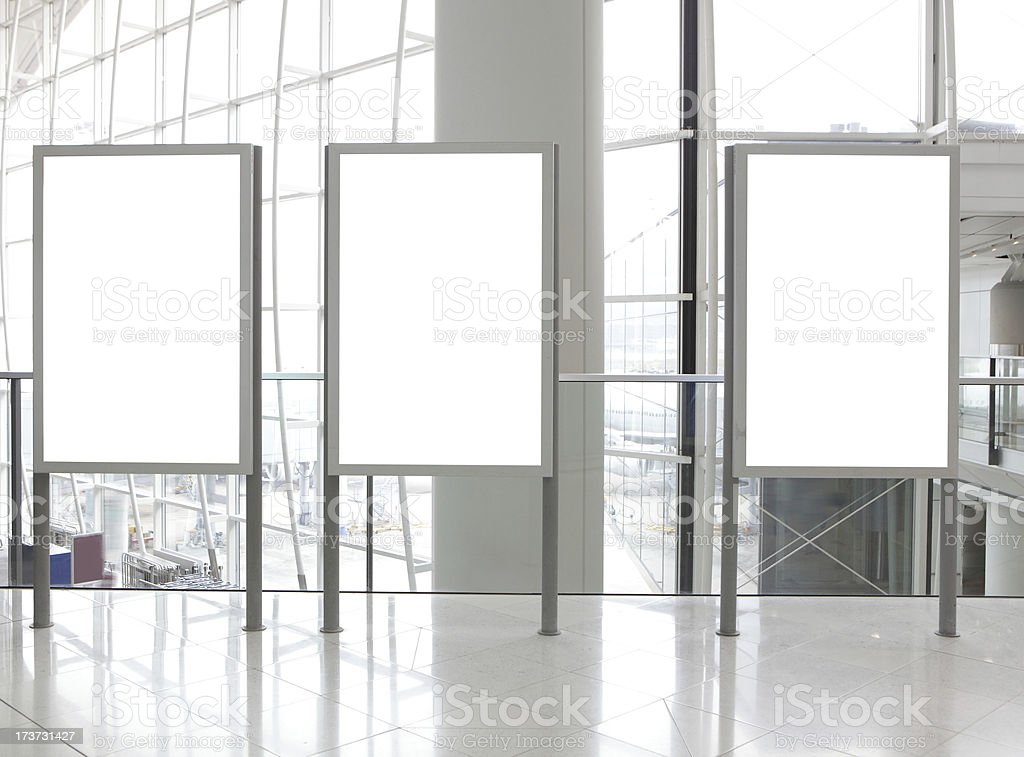 Three Blank Billboard in airport stock photo