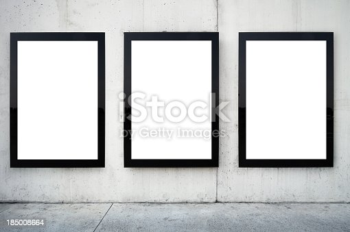 istock Three blank billboards on wall. 185008664