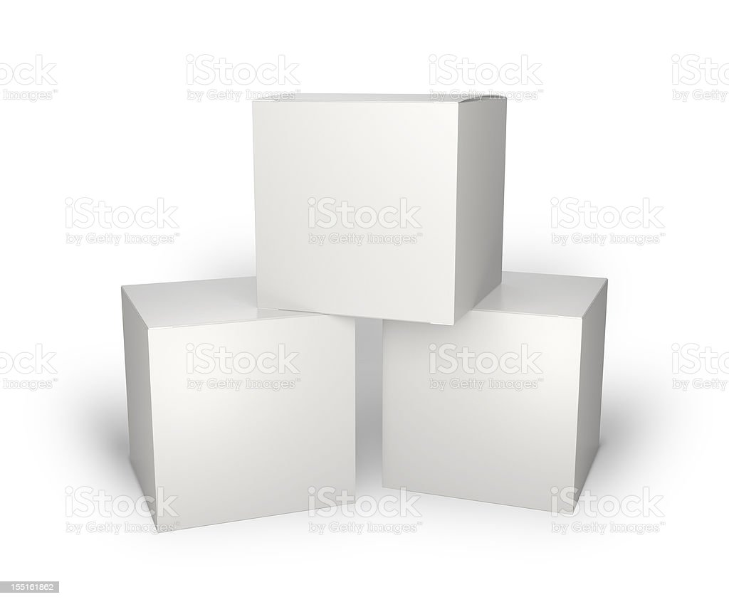 Three blank box isolated on white stock photo
