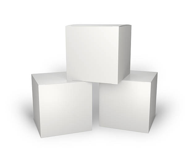 three blank box isolated on white - cube shape stock pictures, royalty-free photos & images