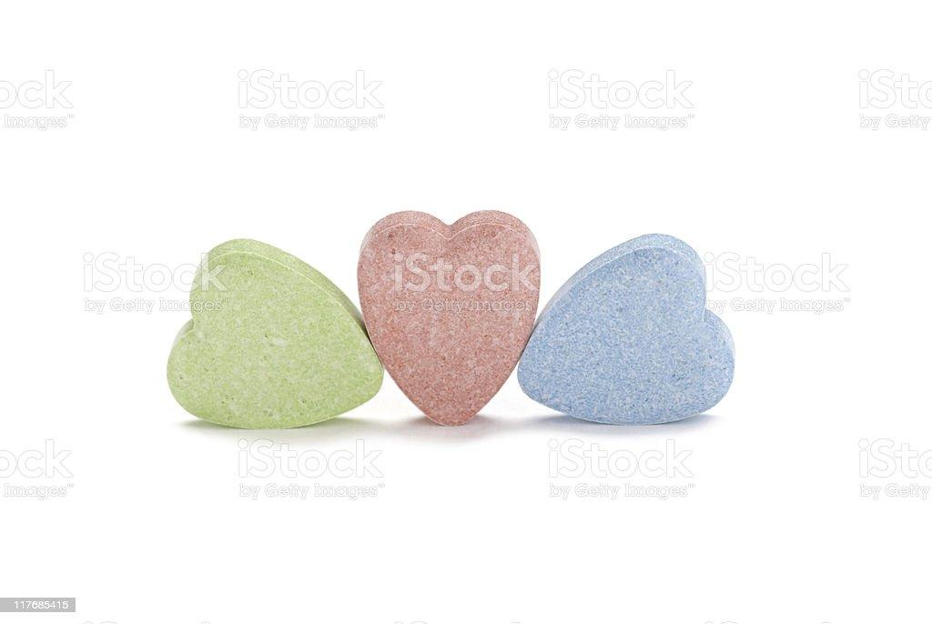 Three Blank Candy Hearts royalty-free stock photo
