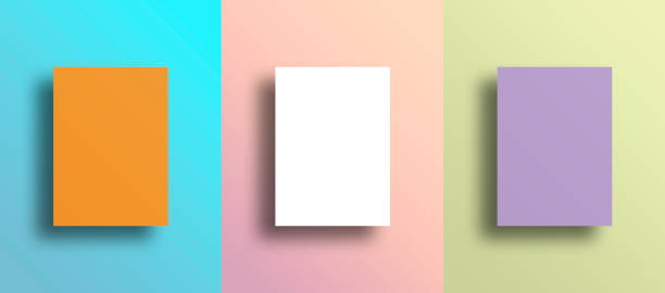 drei leere frames auf multi farbige wand - bilder poster stock-fotos und bilder