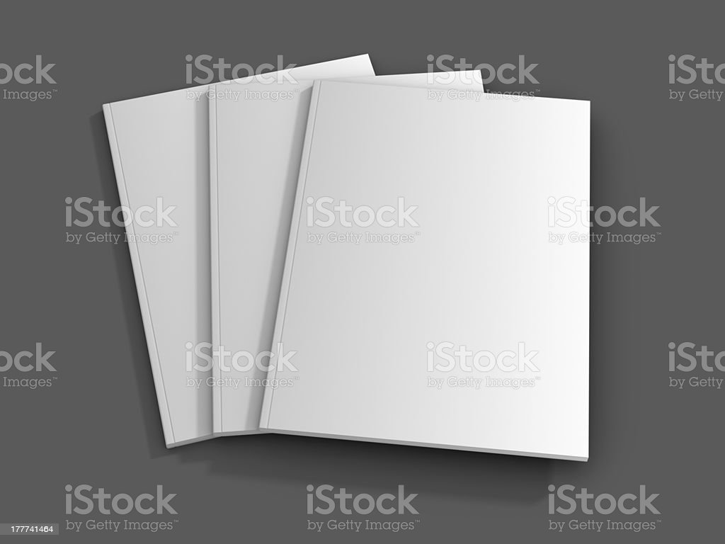 Three blank magazines on a grey background  stock photo