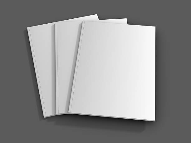 three blank magazines on a grey background  - magazine cover stock photos and pictures