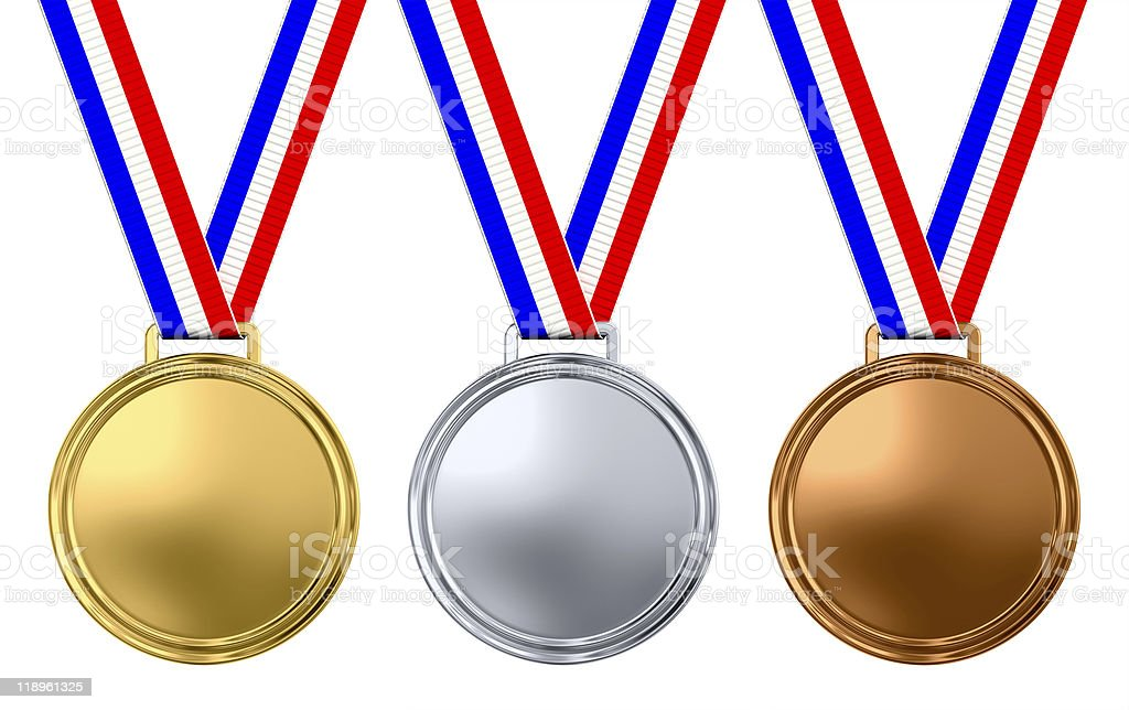 Three blank medals stock photo