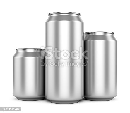 istock Three blank metallic beer cans isolated on white 1020519466