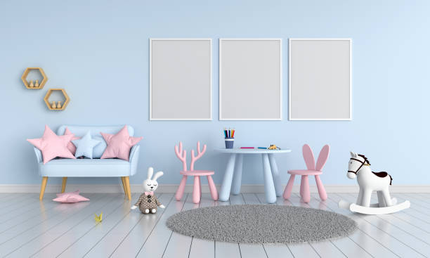 drei leere fotorahmen für mockup im kinderzimmer, 3d-rendering - hellblaues zimmer stock-fotos und bilder