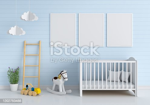 1213866189 istock photo Three blank photo frame for mockup in child room 1202753455