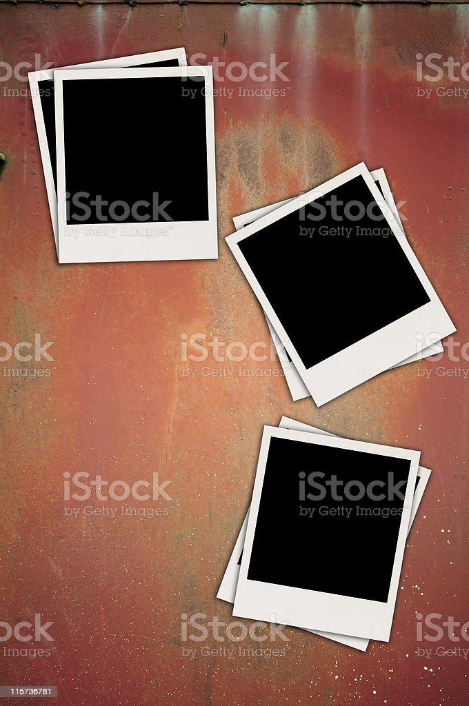 Three Blank Photos on Metal Background royalty-free stock photo