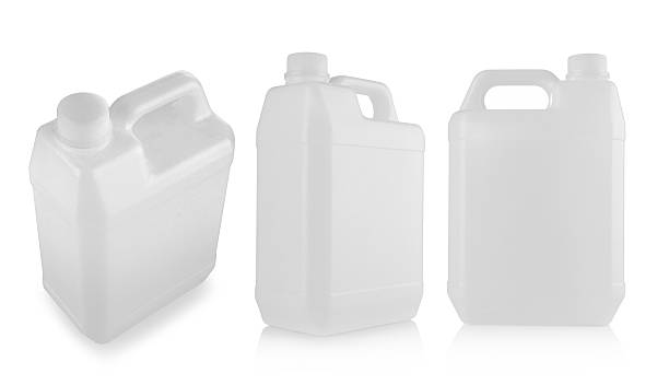 Three blank plastic containers Plastic Gas fuel container isolated on white background gallon stock pictures, royalty-free photos & images