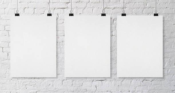 three blank poster stock photo