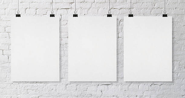 three blank poster - three objects stock pictures, royalty-free photos & images