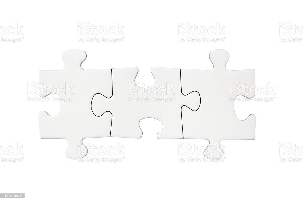 Tres piezas del rompecabezas en blanco - foto de stock