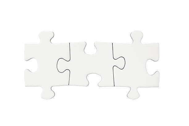 Three Blank Puzzle Pieces Three connected blank puzzle pieces isolated on a white background. jigsaw piece stock pictures, royalty-free photos & images