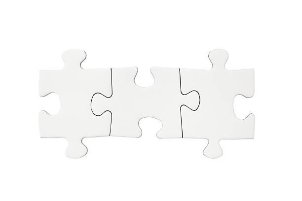 drei leere puzzleteile - puzzleteile stock-fotos und bilder