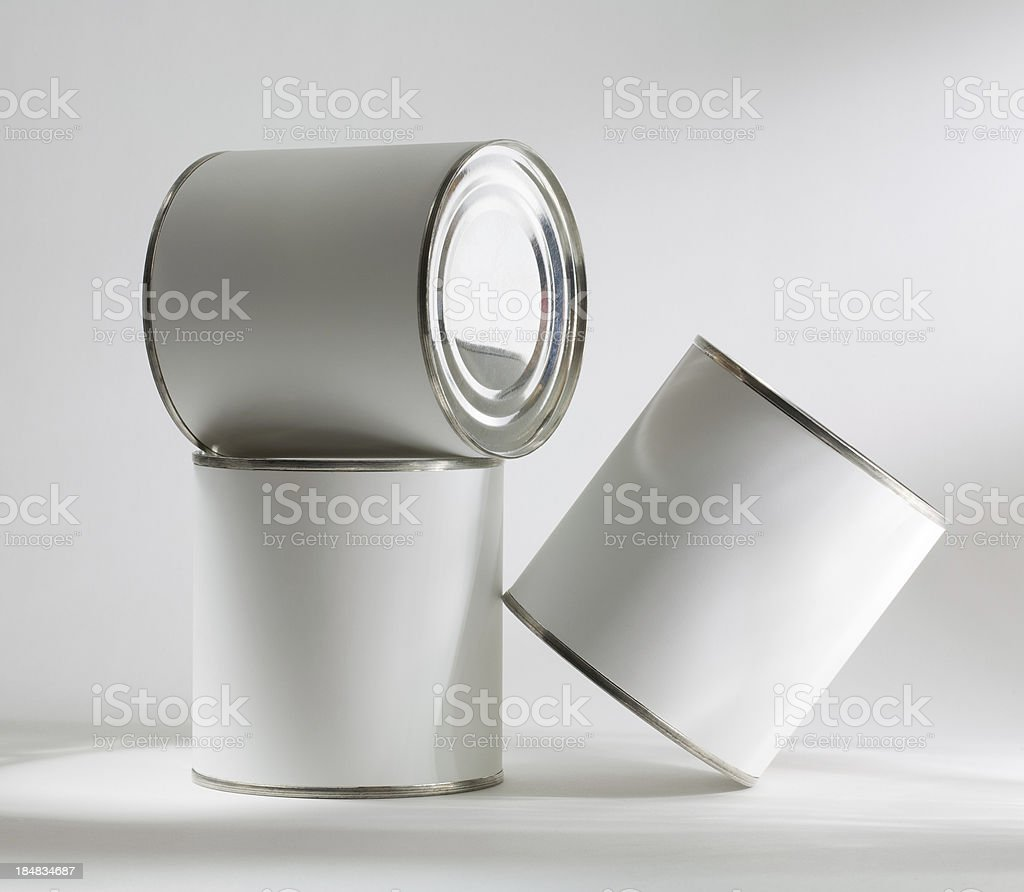 Three blank tin cans royalty-free stock photo