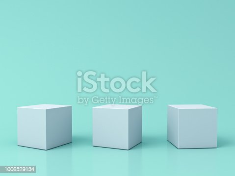 istock Three blank white box podiums isolated on green pastel color background with reflections and shadows 3D rendering 1006529134