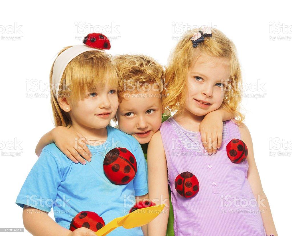 Three blond cute kids royalty-free stock photo