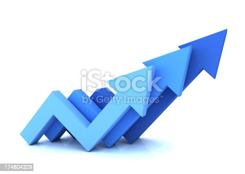 istock Three blue arrows pointing up isolated on white 174804329