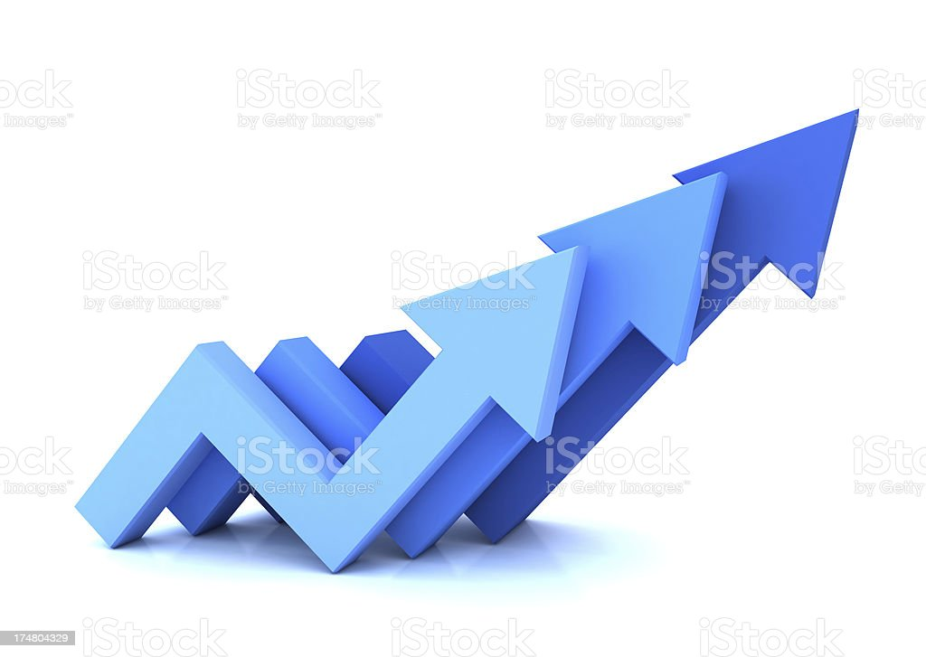 Three blue arrows pointing up isolated on white stock photo