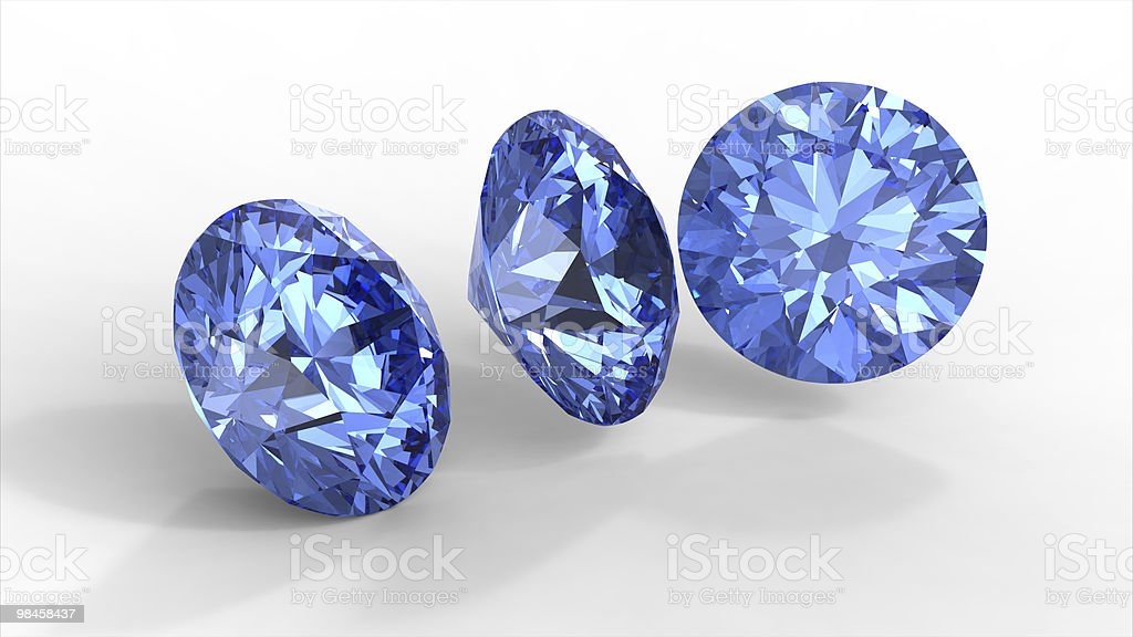 Tre diamanti blu foto stock royalty-free