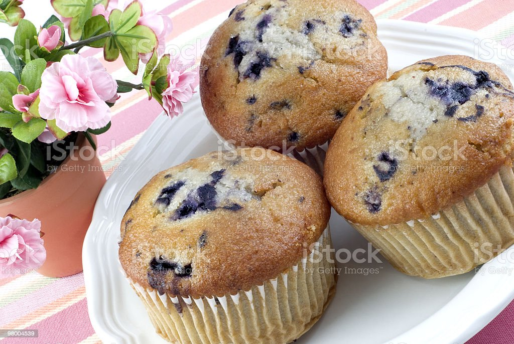 Three Blueberry Muffins royalty-free stock photo