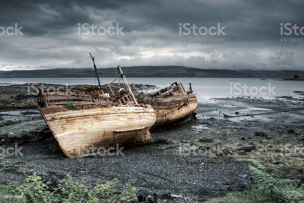 Three boats of Mull stock photo