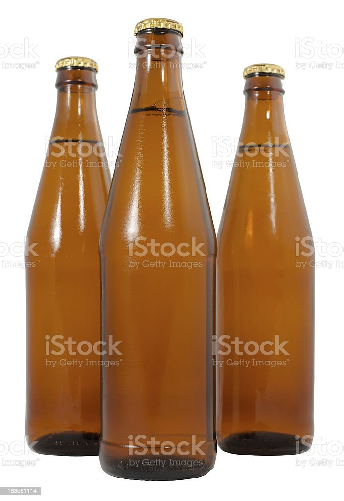 Three bottles of cold beer royalty-free stock photo