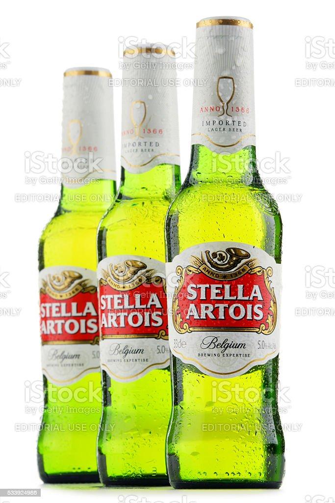 Three bottles of Stella Artois beer stock photo