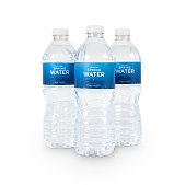 Three bottles of natural spring water with generic (fictitious) labeling. Isolated on white. Contains CLIPPING PATHS for easy editing.