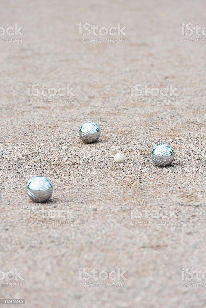 Three boule balls stock photo