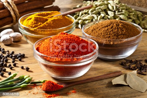 Three transparent glass bowls filled with ground spices are arranged in a triangle shape on a rustic wood table. Other spices like black pepper, nutmeg, cinnamon sticks, cardamom, clove and bay leaf are around the bowls. In the foreground there is a little wood spoon filled with paprika. Main light comes from the top-left giving a nice shadow to the picture. Very saturated and colorful image taken with DSRL Canon EOS 5D Mk II.