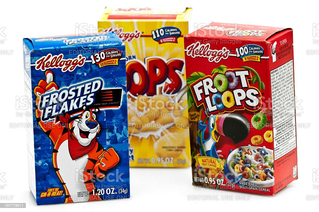 Three boxes of Assorted Kelloggs Cereal stock photo