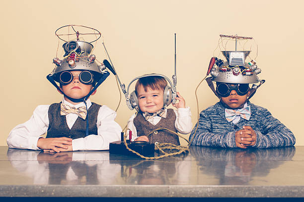 Three Boys Dressed as Nerds with Mind Reading Helmets - Photo