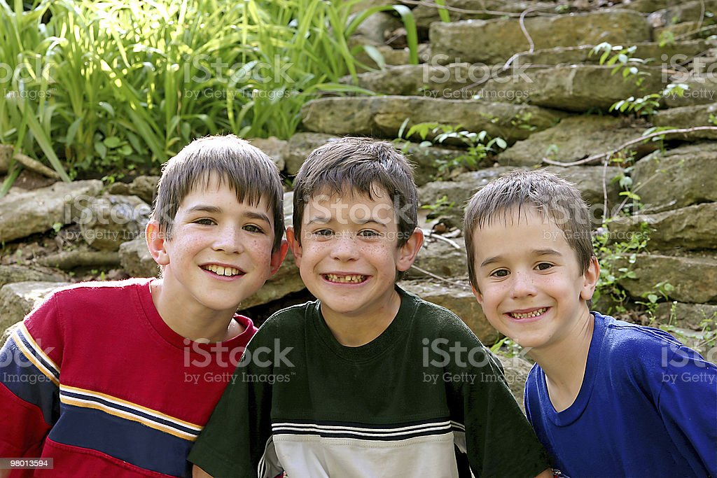 Three Boys In The Outdoors royalty-free stock photo