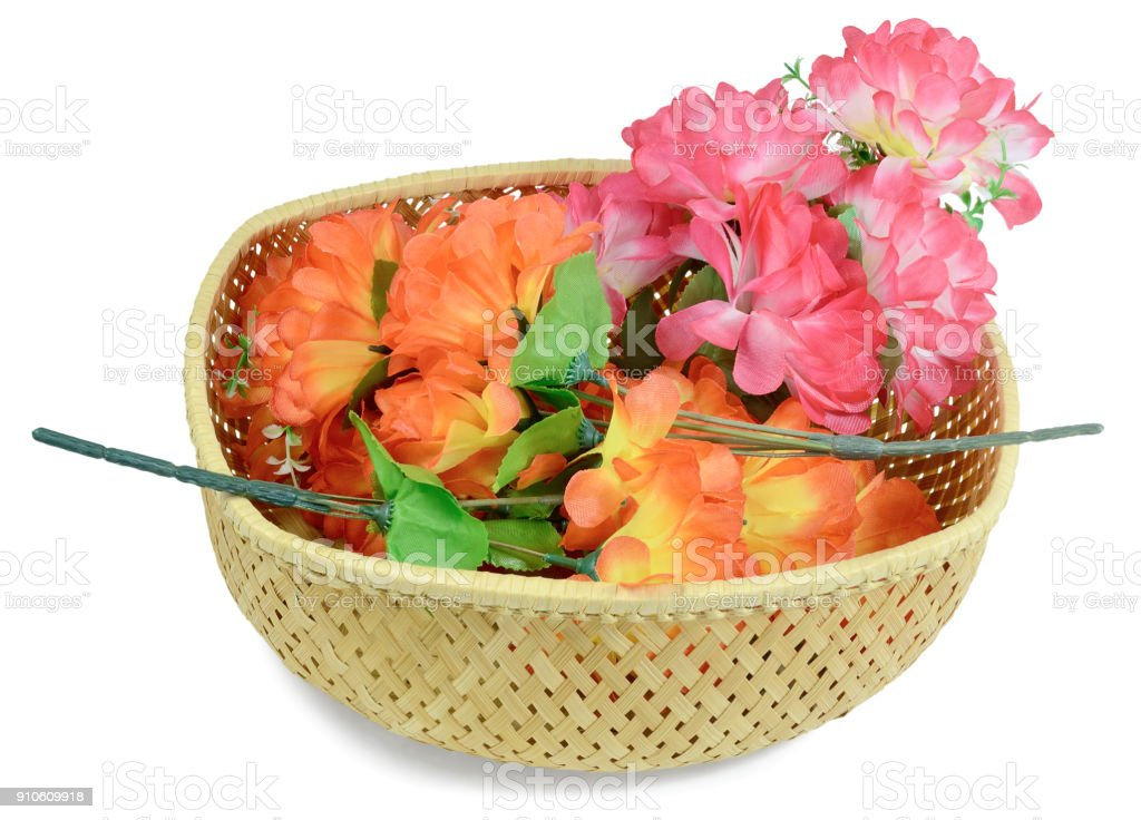 three branches of artificial flowers stock photo