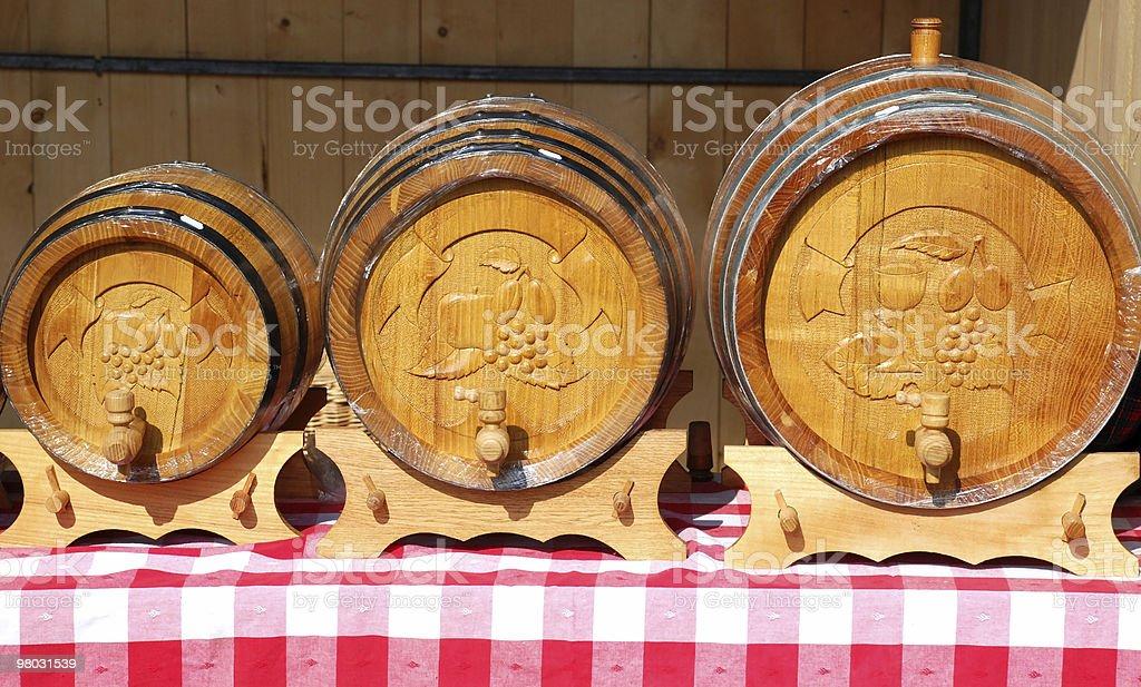 three brand new wooden wine barrels royalty-free stock photo