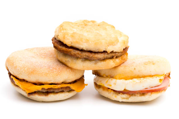 Three Breakfast Sandwich on a White Background stock photo