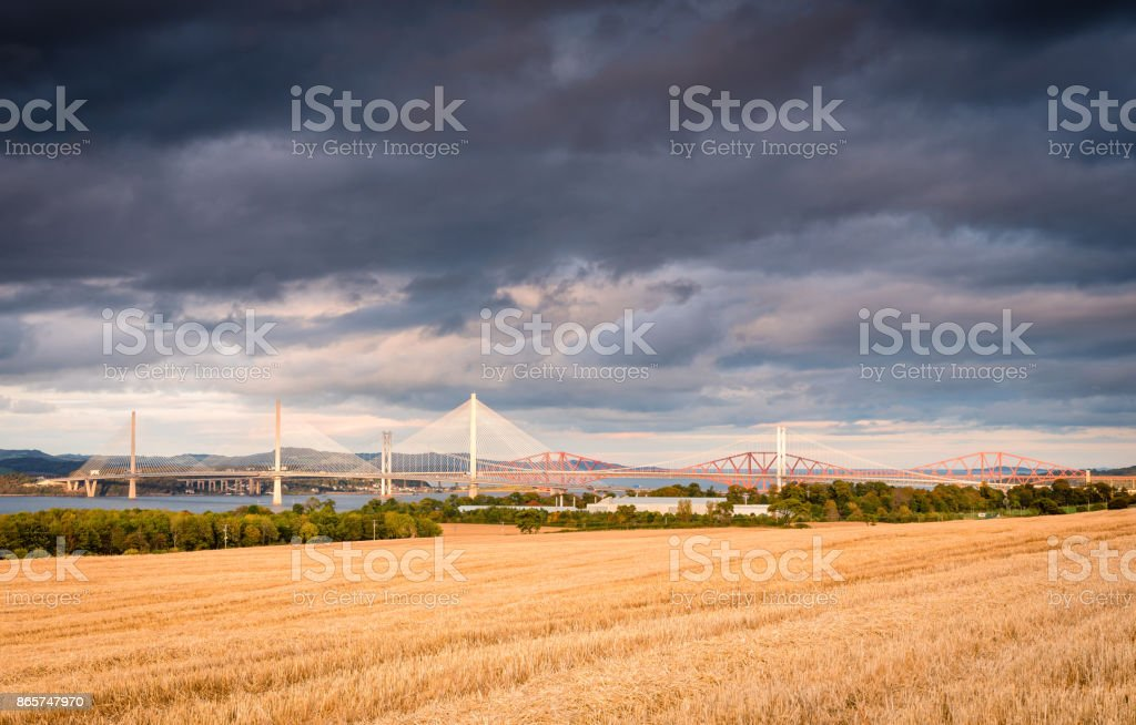 Three Bridges over Firth of Forth stock photo