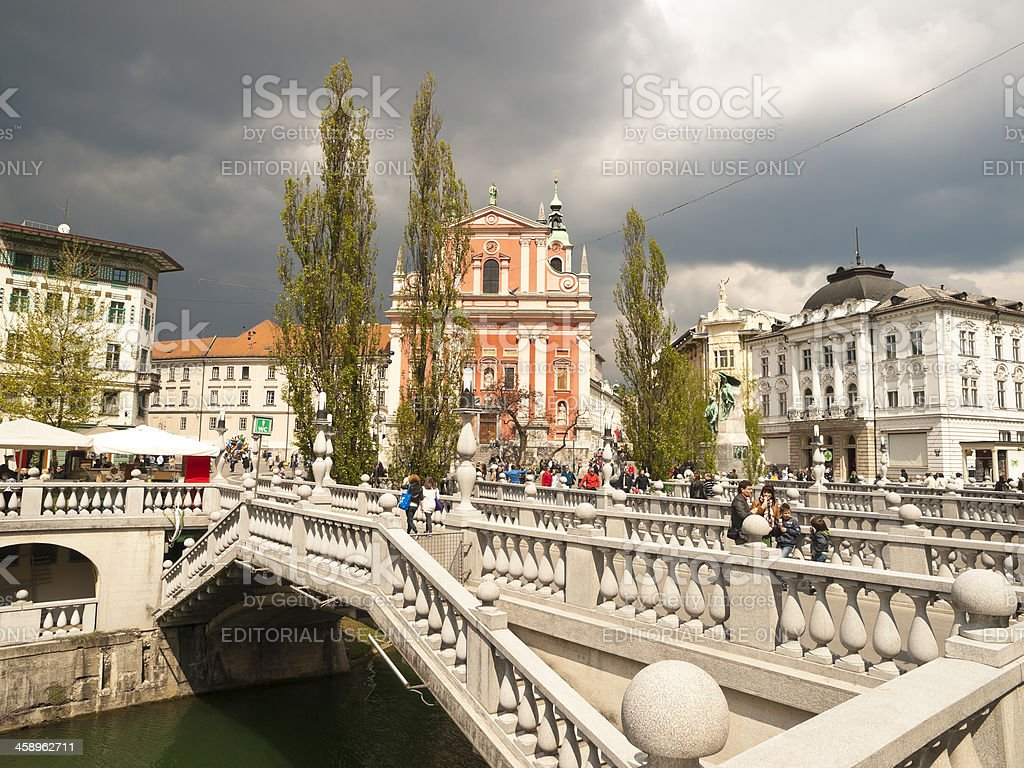 Three Bridges Tromostovje, LJubljana royalty-free stock photo