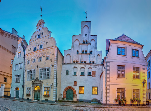 Three Brothers, a cluster of medieval houses in old town, Riga.