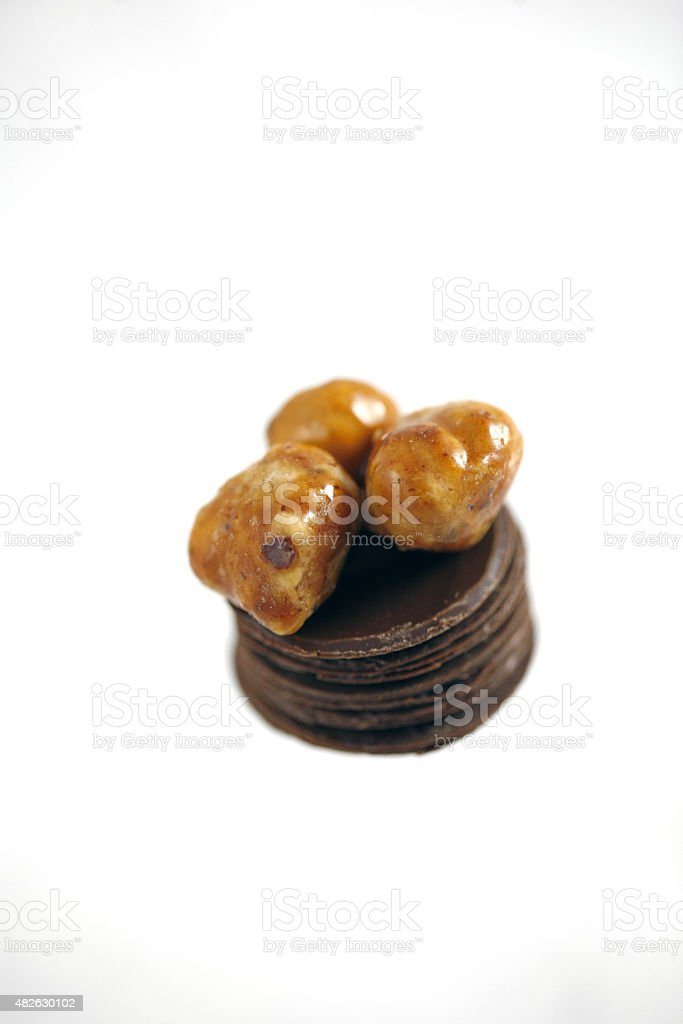 Three Brothers Hazelnut Chocolate Candy stock photo