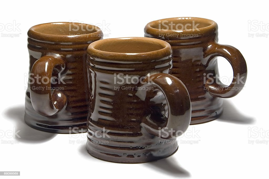 Three Brown Cups royalty-free stock photo