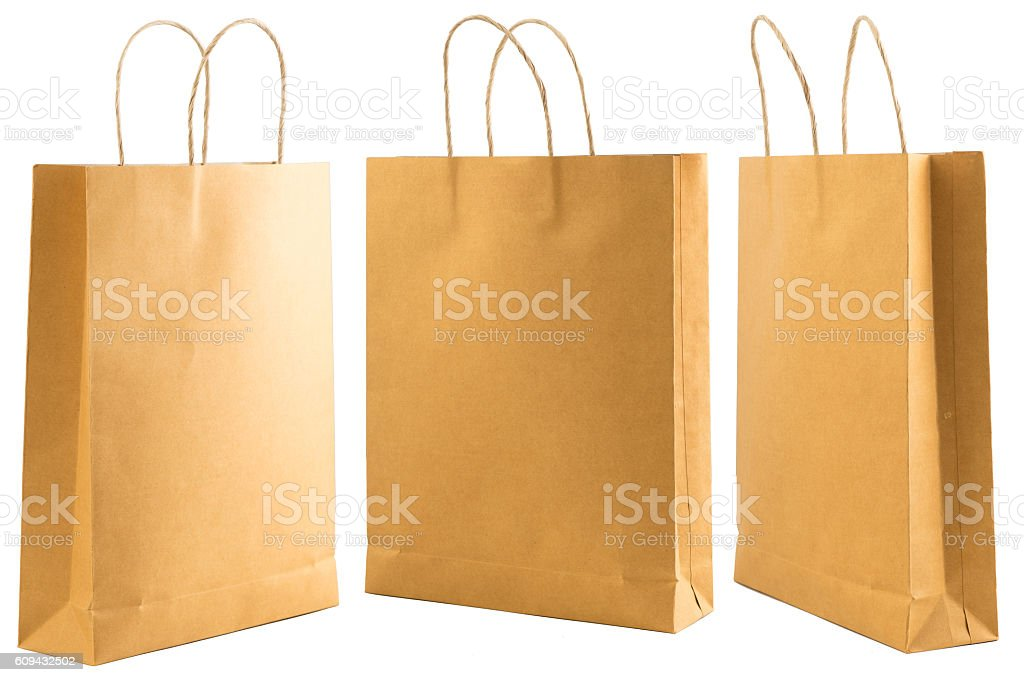 Three brown paper bag stock photo